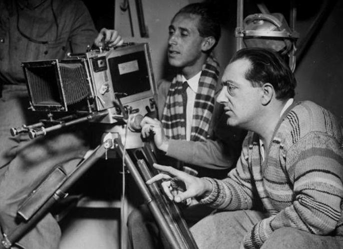 Fritz Lang bei Dreharbeiten